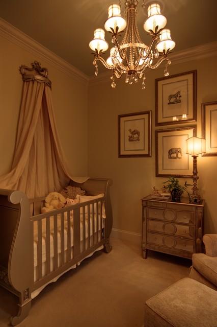 Elegant Baby Boy Nursery: Elegant Baby's Nursery With Mirrored Furniture And Sleigh