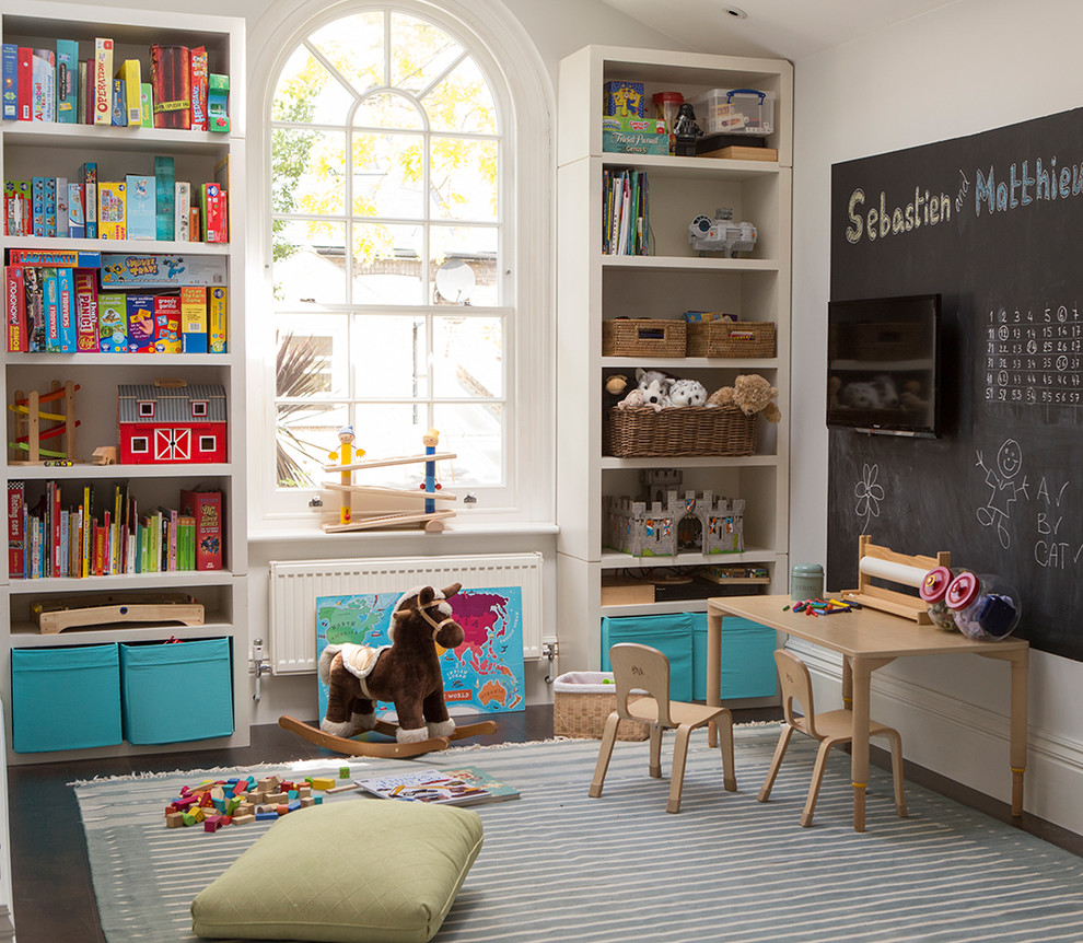 Nursery - mid-sized traditional gender-neutral dark wood floor and brown floor nursery idea in London with white walls