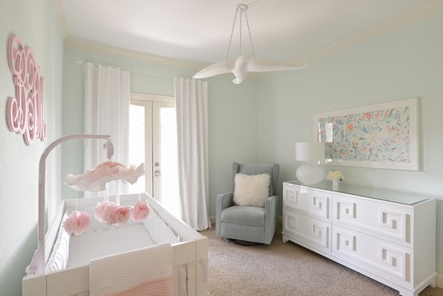 Delightful Girlu0027s Nursery   Contemporary With Mint Green, White And Peach Colors  Contemporary Nursery Good Looking