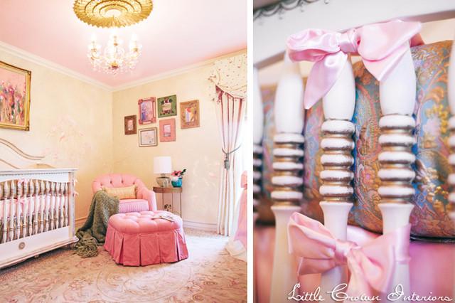 Gold and Pink Nursery Crib Bedding kids