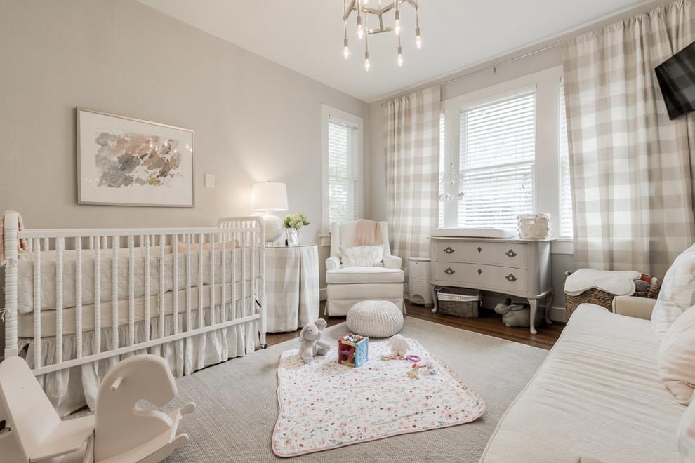 Nursery - country girl dark wood floor and gray floor nursery idea in Dallas with gray walls