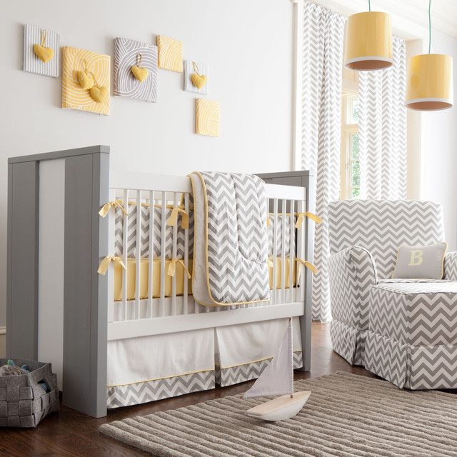 Gray And Yellow Chevron Crib Bedding Transitional Nursery - Baby rooms designs