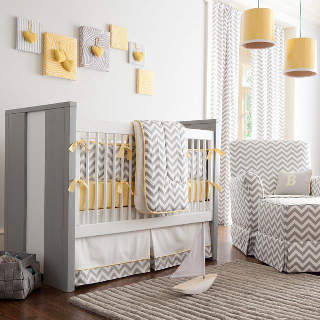 Gray and yellow chevron crib bedding transitional kids for Chevron bedroom ideas