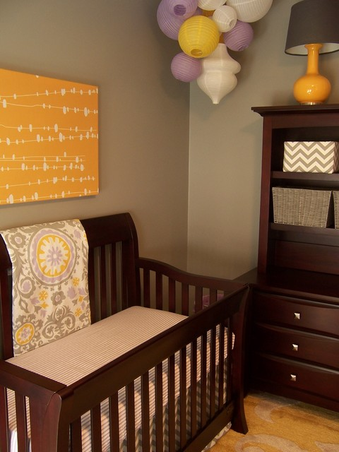 Gray Yellow And Lavender Nursery Contemporary Nursery