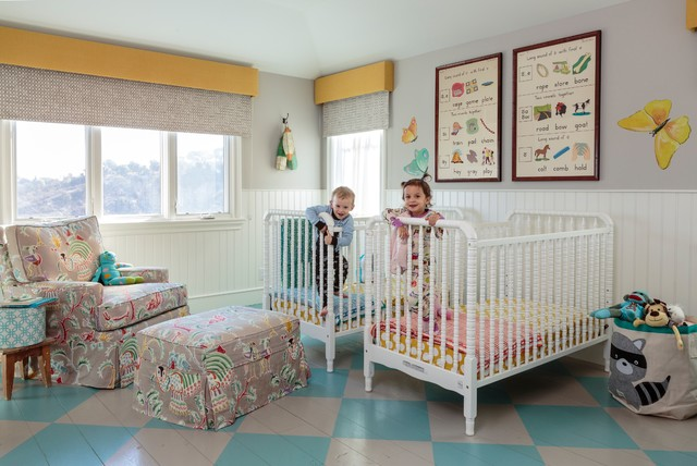 Hamptons Style House Transitional Nursery Los Angeles by