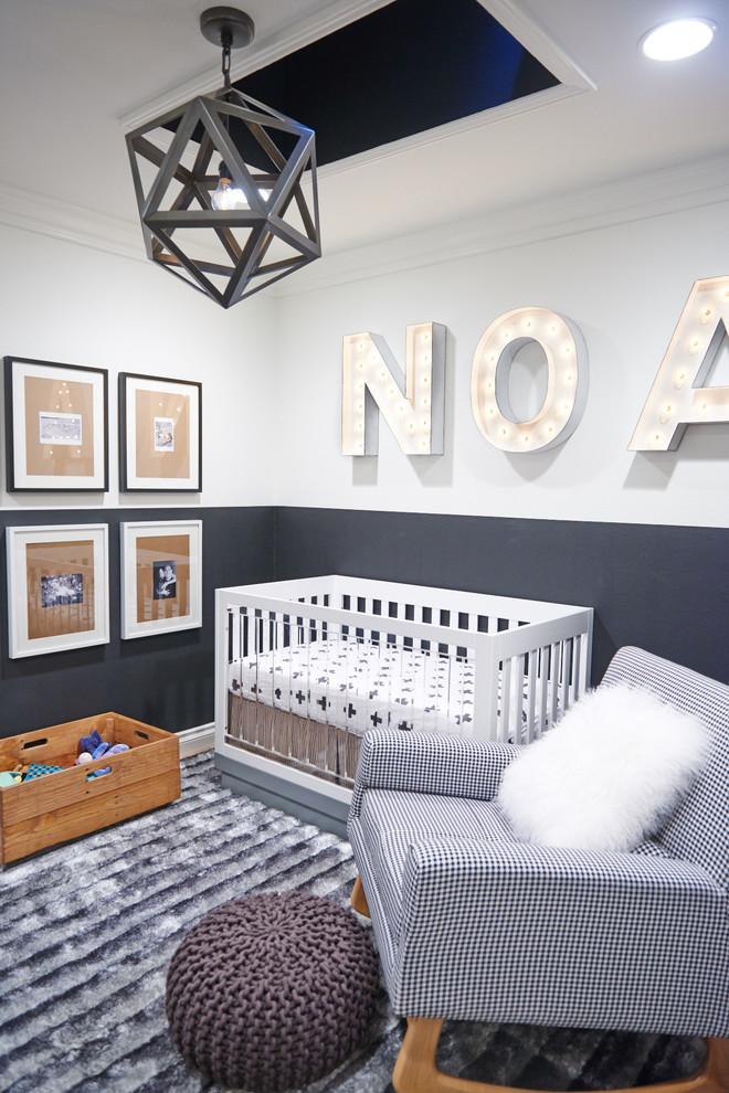 Nursery - small contemporary gender-neutral gray floor nursery idea in Orange County with gray walls