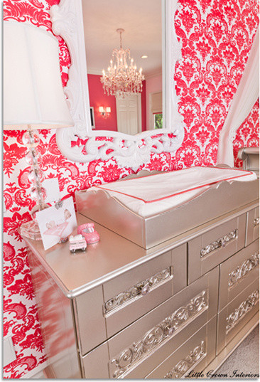Ivory and Coral Girl's Nursery traditional-kids