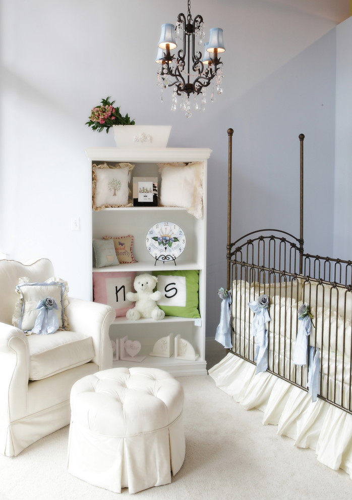 Nursery - shabby-chic style gender-neutral carpeted nursery idea in Miami with purple walls