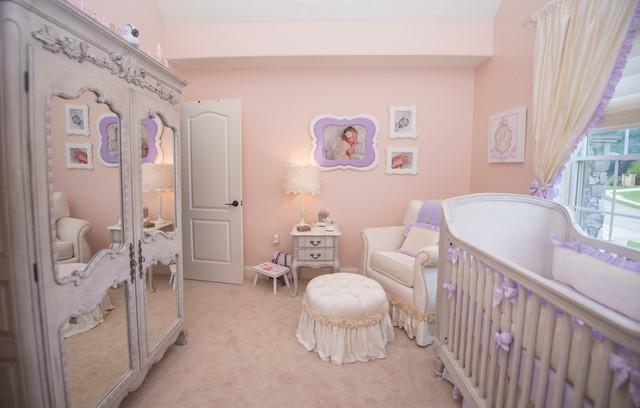 Camerette Neonati Shabby Chic : Lavender princess nursery glitter paint wall shabby chic style