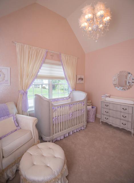 Lavender Princess Nursery Glitter Paint Wall Shabby