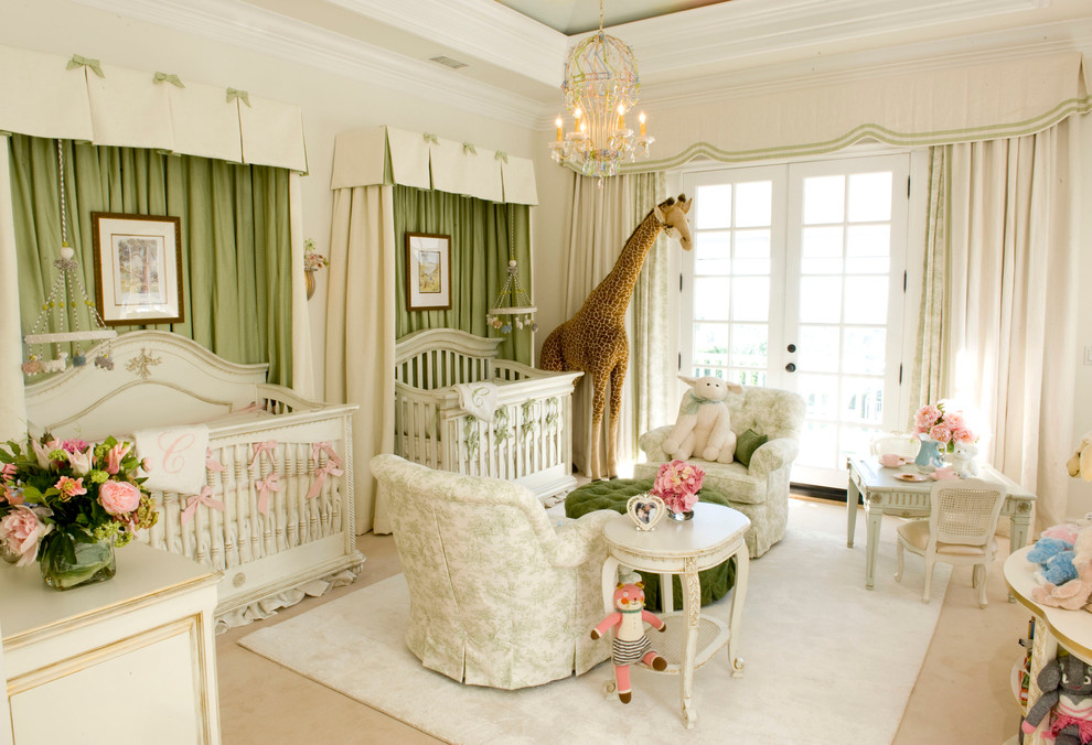 Large elegant girl carpeted nursery photo in Los Angeles with beige walls