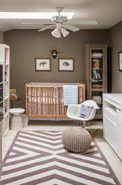 Inspiration for a small contemporary gender-neutral carpeted nursery remodel in DC Metro with brown walls