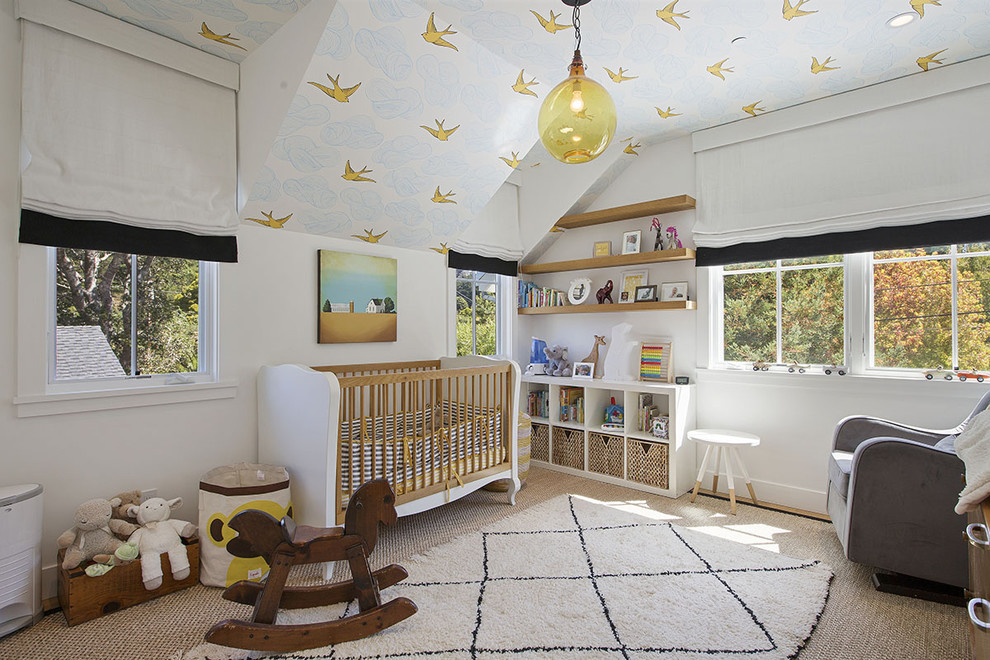 Inspiration for a country gender-neutral carpeted and beige floor nursery remodel in San Francisco with white walls