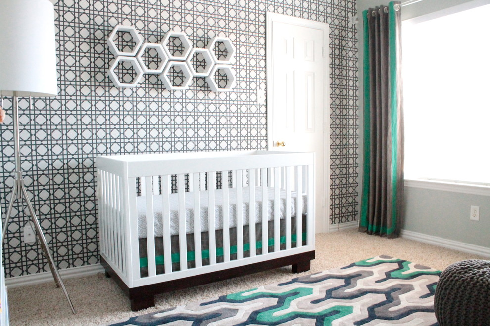 Mid-sized trendy boy carpeted nursery photo in Dallas with multicolored walls