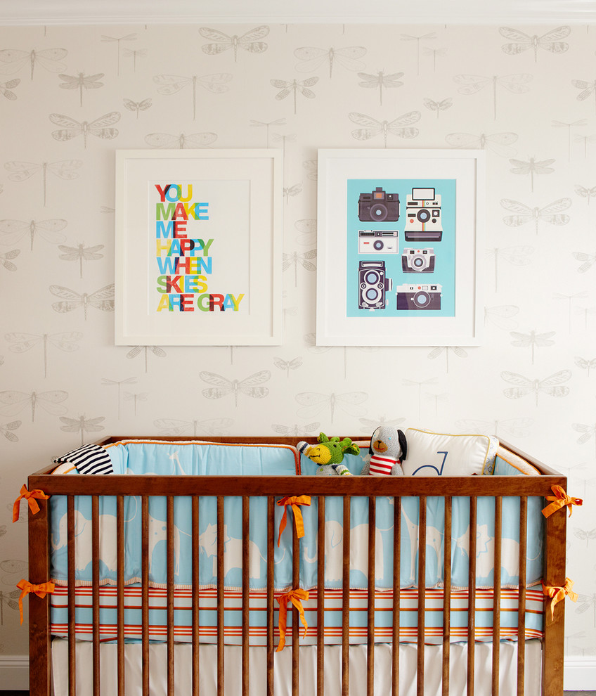 Mid-sized trendy gender-neutral nursery photo in San Francisco with beige walls