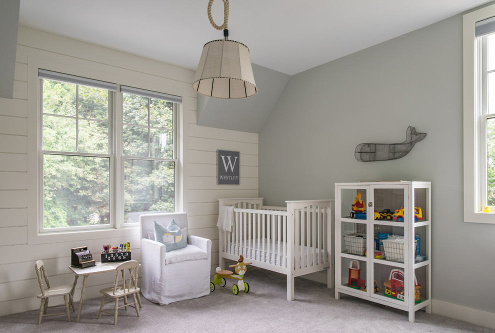 Inspiration for a large country gender-neutral carpeted and gray floor nursery remodel in Boston with gray walls