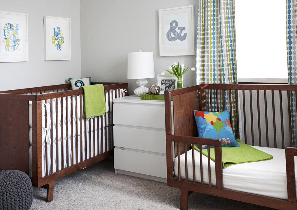 Inspiration for a contemporary gender-neutral carpeted nursery remodel in San Francisco with gray walls
