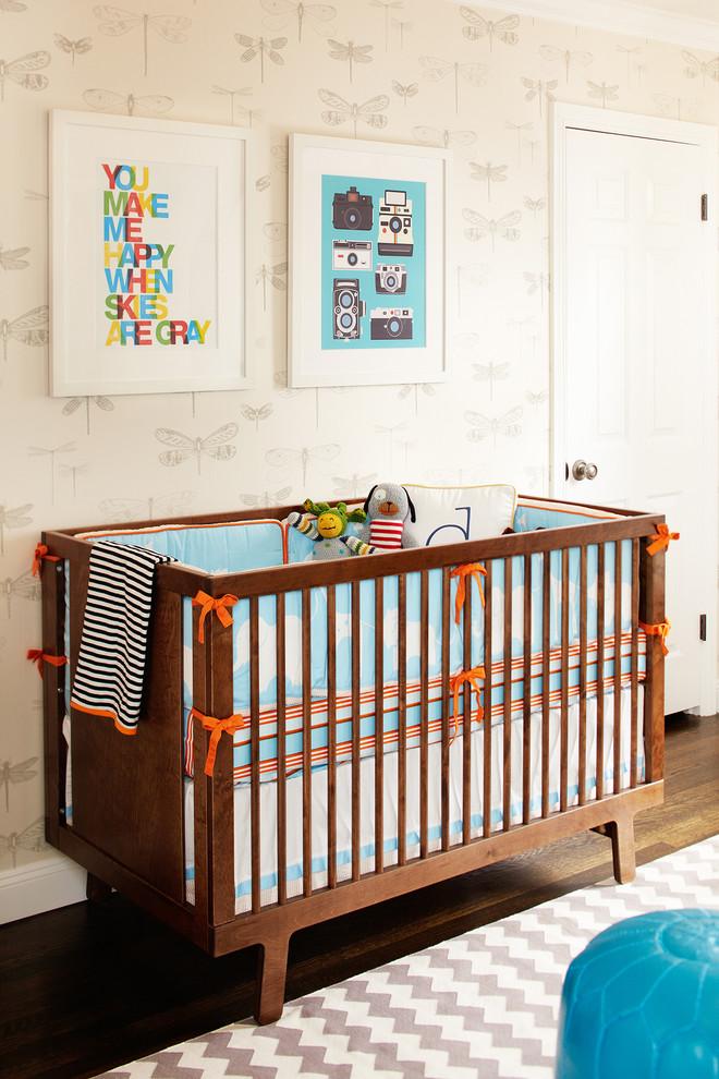 Nursery - mid-sized scandinavian gender-neutral dark wood floor nursery idea in San Francisco with beige walls