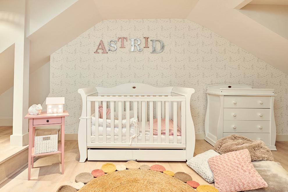 Trendy beige floor nursery photo in London