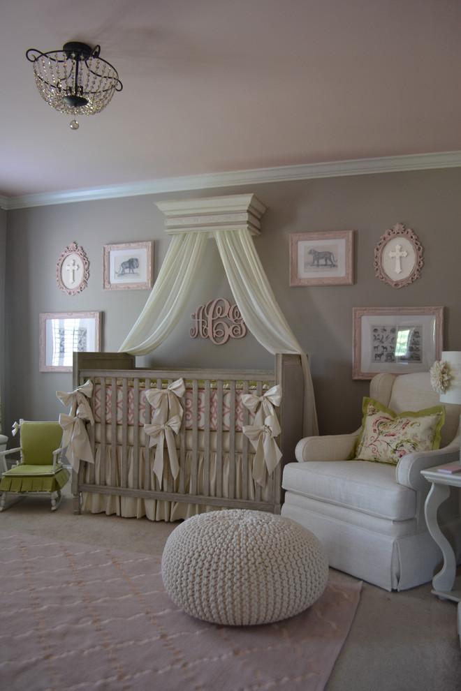 Elegant girl carpeted nursery photo in Atlanta with gray walls