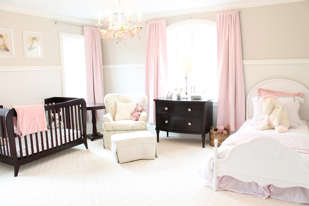 Large elegant girl carpeted and white floor nursery photo in Boston with beige walls