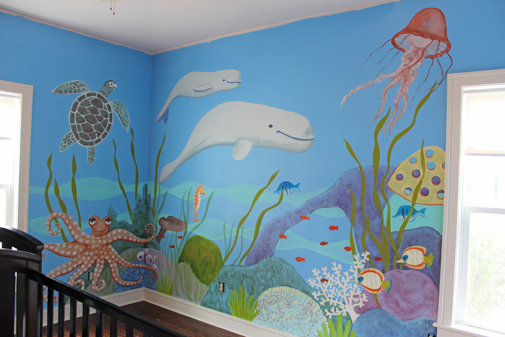 Example of a mid-sized trendy nursery design in Dallas