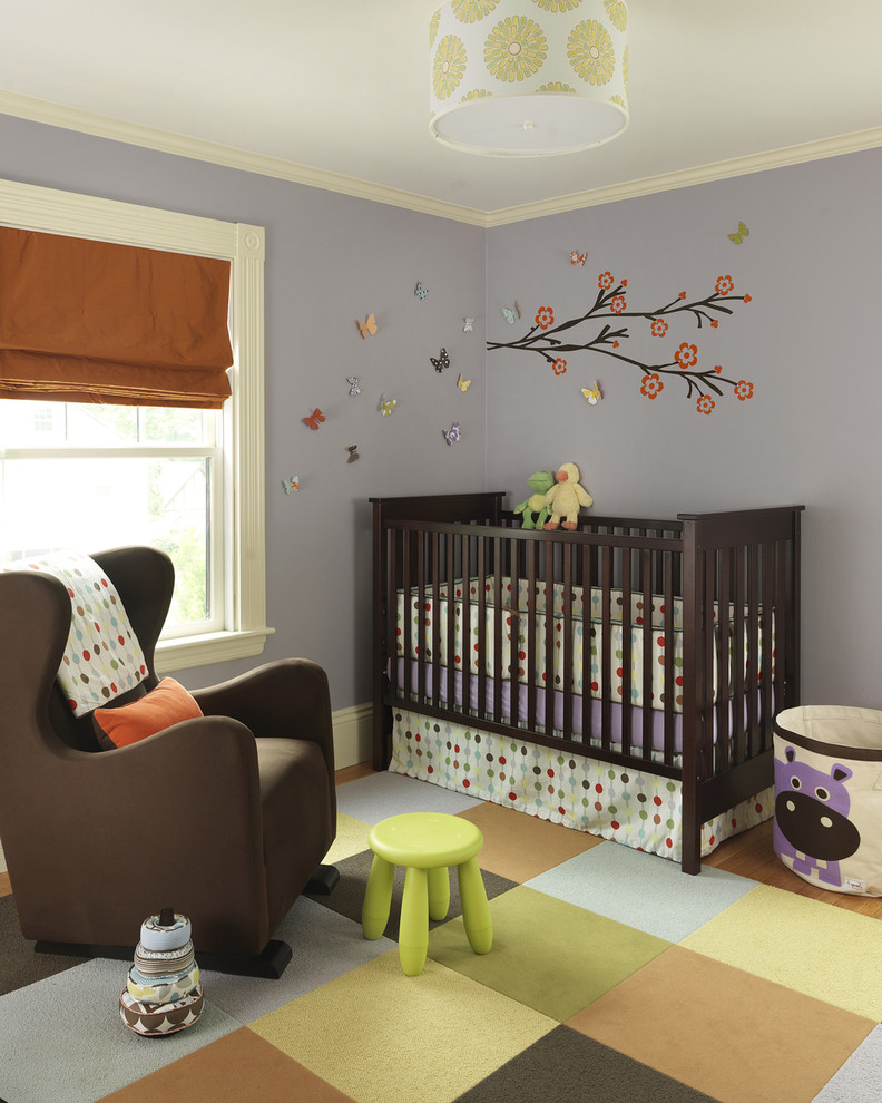 Nursery - transitional gender-neutral carpeted nursery idea in Boston with gray walls