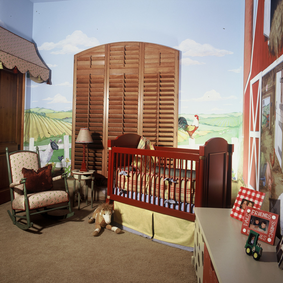 Nursery - cottage gender-neutral carpeted nursery idea in Phoenix with multicolored walls