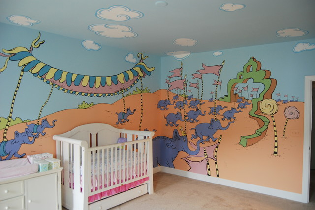 Oh The Places You Ll Go Dr Seuss Mural Throughout A Nursery