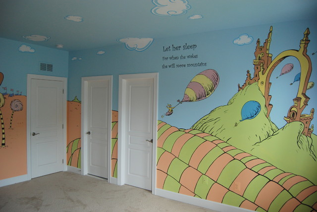 Oh The Places Youll Go Dr Seuss Mural throughout a nursery