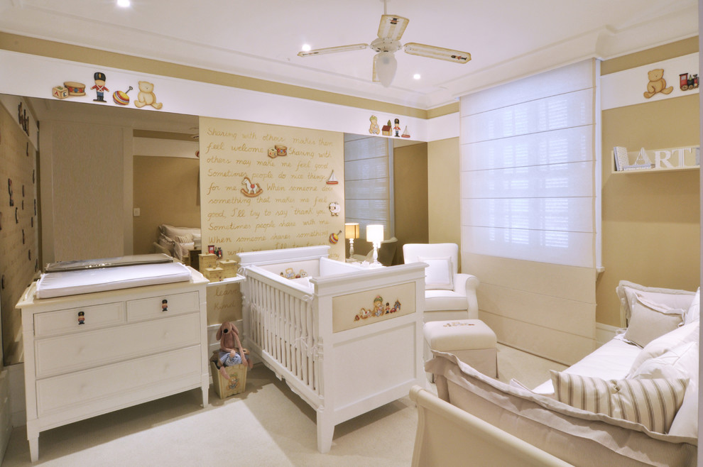 Inspiration for a timeless gender-neutral carpeted nursery remodel in Other with beige walls