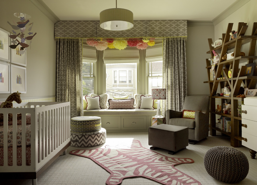 Large transitional girl carpeted nursery photo in San Francisco with beige walls