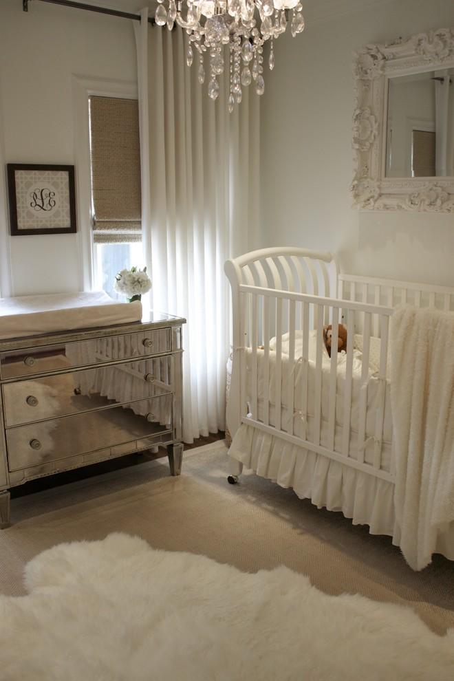 Nursery - traditional girl nursery idea in Dallas with white walls