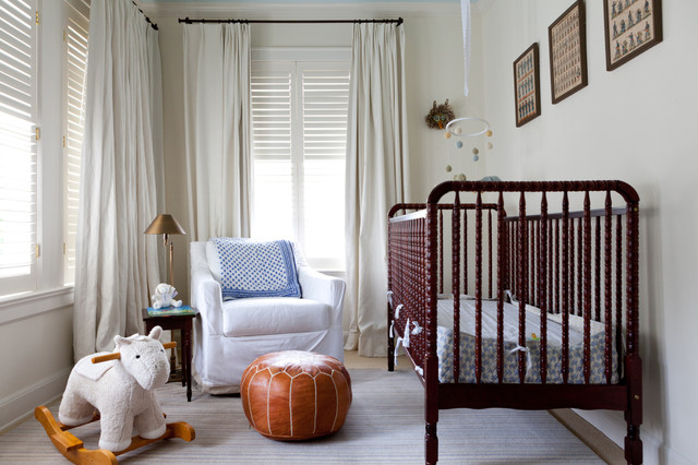 Nursery Traditional Boy Gray Floor Idea In Austin With White Walls