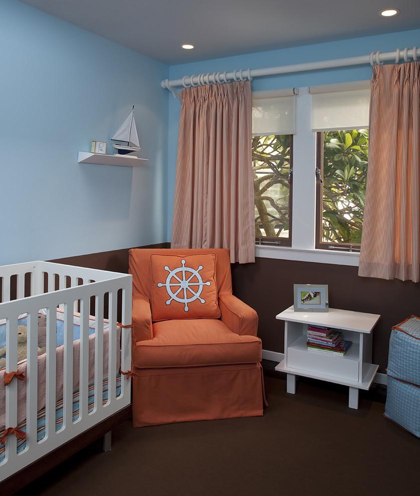 Nursery - contemporary carpeted nursery idea in San Francisco with blue walls