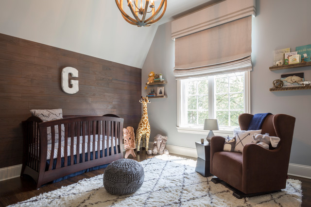 Nursery - transitional gender-neutral dark wood floor nursery idea in Chicago