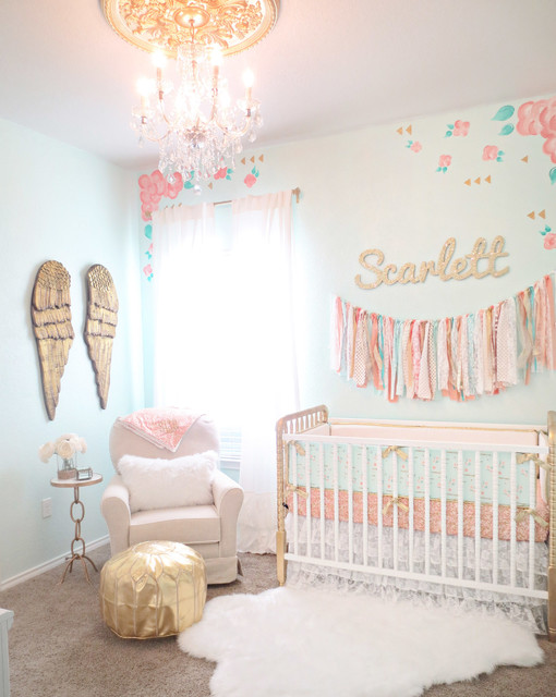 Scarlett 39 s coral aqua and gold vintage lace nursery - Chambre bebe cora ...