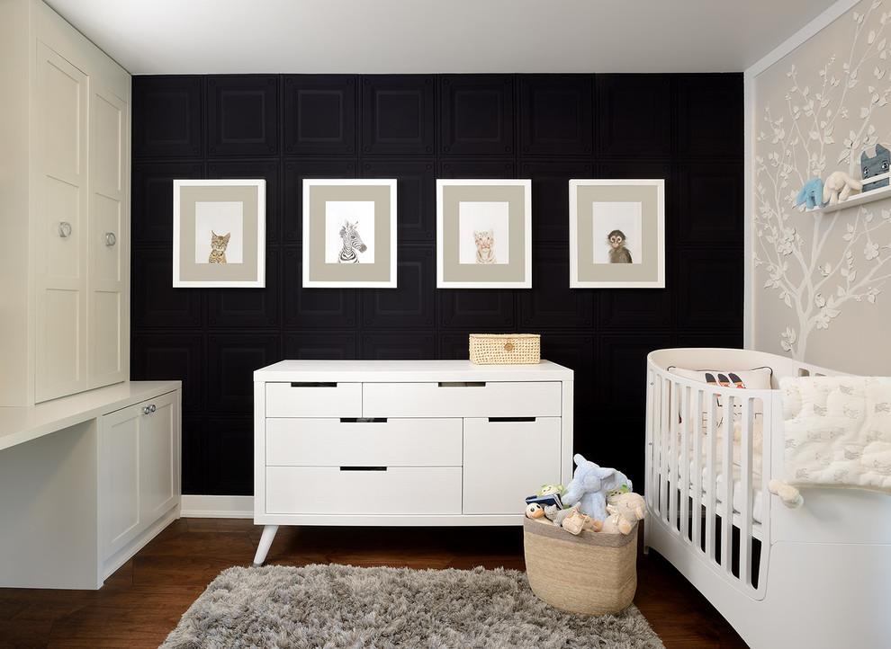 Nursery - mid-sized transitional gender-neutral dark wood floor nursery idea in Toronto with black walls