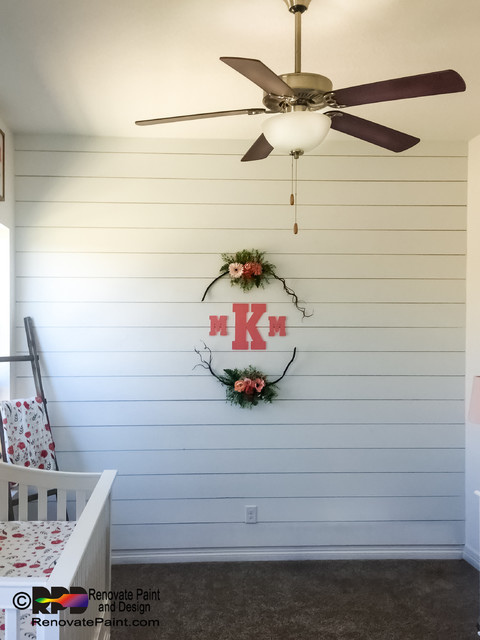 Shiplap Siding For Interior Wall Shabby Chic Style Nursery Austin By Renovate Paint And Design Houzz Uk