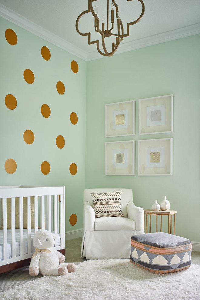 Nursery - transitional girl carpeted and white floor nursery idea in Orlando with green walls