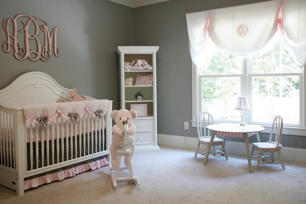 Nursery - traditional girl carpeted and gray floor nursery idea in Atlanta with gray walls