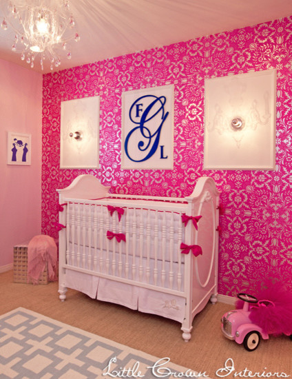 Pink and Navy Girl's Nursery kids