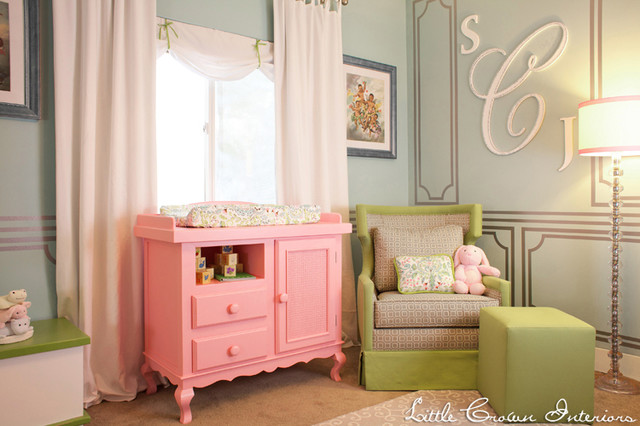 Pink and Green Girl's Nursery for Laila Ali traditional-kids