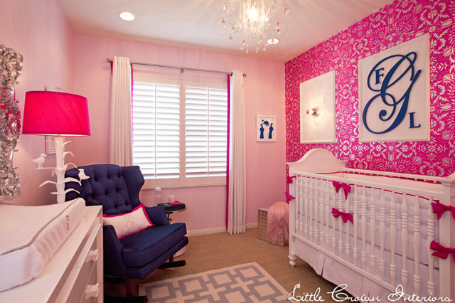 Pink and Navy Girl's Nursery traditional-kids