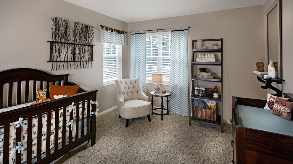 Nursery - mid-sized traditional gender-neutral carpeted and beige floor nursery idea in Other with beige walls