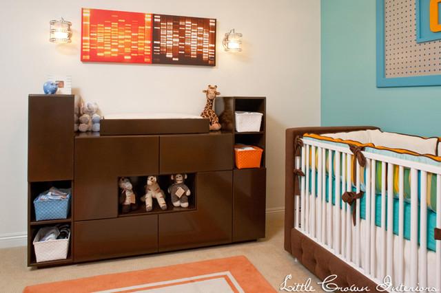 Aqua and Orange Retro Modern Boy's Nursery kids