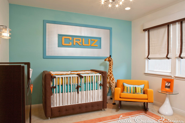 Orange And Aqua Modern Boy S Nursery Kids Orange