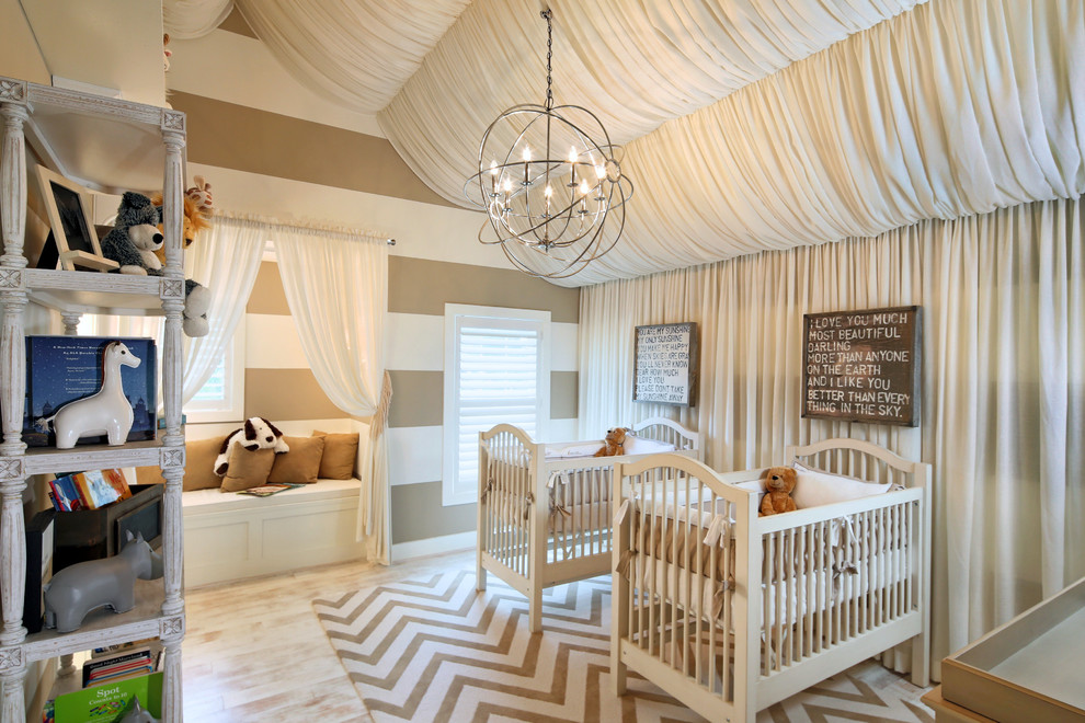 Inspiration for a mid-sized transitional gender-neutral light wood floor nursery remodel in DC Metro with beige walls
