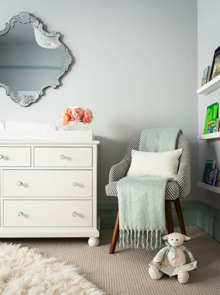 Inspiration for a transitional gender-neutral carpeted nursery remodel in San Francisco with gray walls