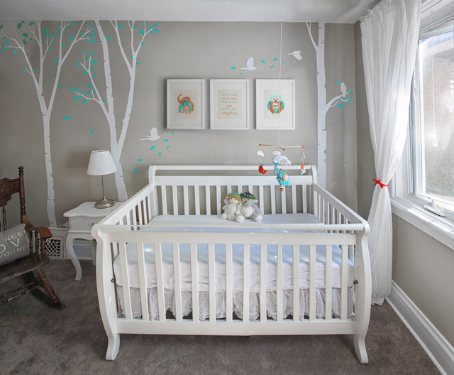 Unisex nursery with custom renovation finishing and painting for Peinture chambre enfant mixte